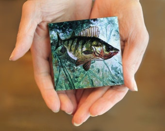 "Angler's Delight Fish Art Original Acrylic Painting 3""X3"" Yellow Perch"