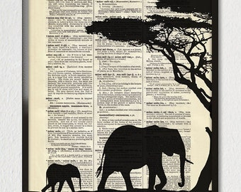 ELEPHANTS Mother Child Baby Love Silhouette Illustration Animal Black White Dictionary Art Print Poster Antique Book Page 8x10 +More Sizes