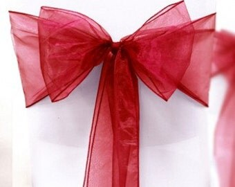Chair Sashes 100 Wedding Chair Sashes Red  Chair Bows  Wine  Organza Pew Bows Party Bows Event