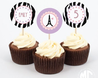 Fancy Nancy Inspired / Parisian Printable Digital Party Circles / Cupcake Toppers  -- Mirabelle Creations