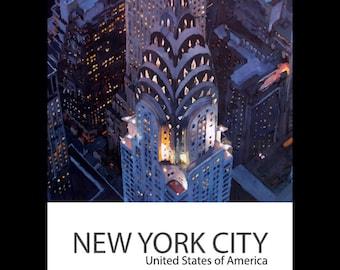 New York City - Midtown Manhattan with Chrysler Building - Fine Art Print Retro Vintage Poster