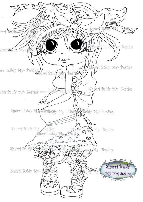 INSTANT DOWMLOAD Digital Digi Stamps Big Eye Big Head Dolls Digi Expecting Img905By Sherri Baldy