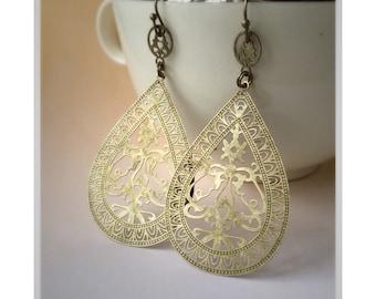 Antique Gold Lace Filigree Earrings Lightweight Earrings Boho Earrings Bohemian Earrings Long Dangle Earrings Shabby Chic Earrings