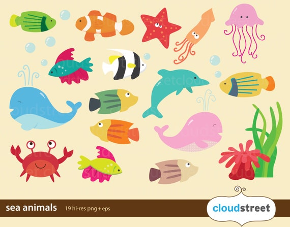 buy 2 get 1 free sea animal clip art for personal and commercial use / ocean animal clipart / under the sea clip art vector graphics