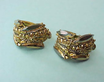 Pretty and Unusual Vintage 1950's Golden Rhinestone Clip On Earrings