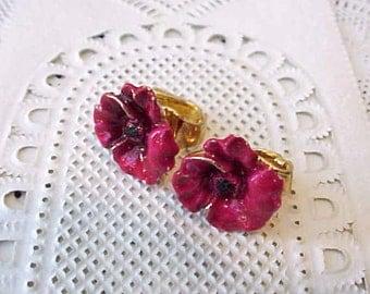 Pretty Tiny Little Vintage Crimson Flower Clip On Earrings