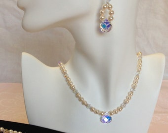 925 Swarovski Crystal Flat Briolette and Swarovski Crystal Pearl Necklace, Bracelet, and Earring Set