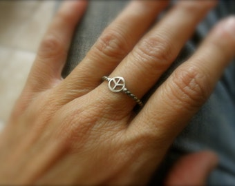 sterling silver peace symbol ring