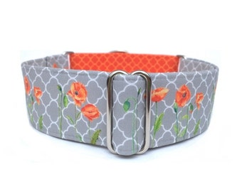 "Orange Poppies Dog Collar - 1"" or 1.5"" Poppies and Quatrefoil Martingale Collar or Adjustable Buckle Dog Collar"