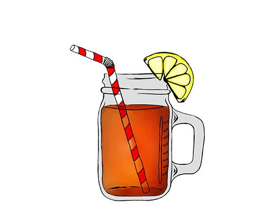 Mason Jar Image Ice Tea Digital Clipart PNG JPG Hand