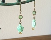 Little Minty Green Turtle Earrings - Mint Green and Gold Metals
