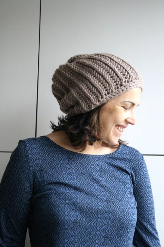 Crochet Pattern crochet hat pattern knit look slouchy beanie