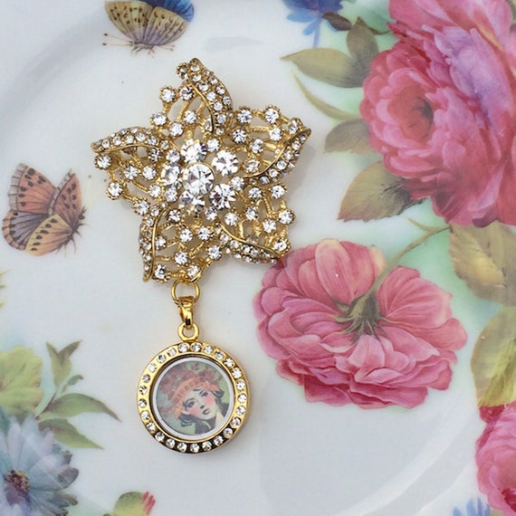 Bridal Bouquet Locket Charm : Gold petite five point rhinestone brooch memory locket