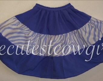 Girls Blue ZEBRA Ultra Twirl SKIRT childrens clothing 0 3 6 12 18 24 M 2 3 4 T 5 6 7 8 9 10 baby toddler