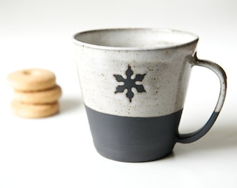 Unique coffee mug minimal pottery black and white cup snowflake mug black stoneware Christmas Gift Hostess Gift Gift for Goodies Coffee Mug