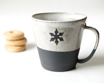 Unique coffee mug minimal pottery black and white cup snowflake mug black stoneware Christmas Gift Hostess Gift Gift for Goodies Coffee Mug