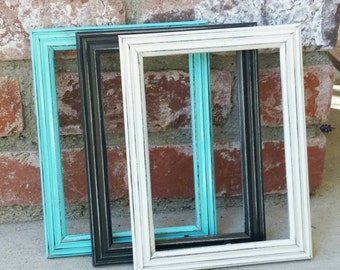 COLORFUL SHABBY CHIC Frames- Set of 3 Frames 5 x 7 Frames in assorted colors