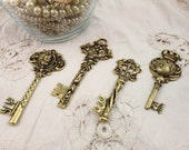 Set of 4 Large Gold Metal Decorative Keys for Assemblage Jewelry or Mixed Media Art - Each a different design