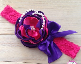 Pink and Purple Couture Headband - Headband
