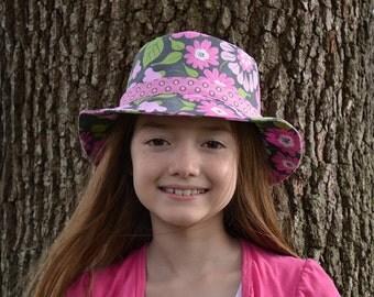 Girls Sun Hat Bucket Hat Pink Flower Hat Kids Hats Tweens Hats Girls Pink Hat Big Flowers Hat