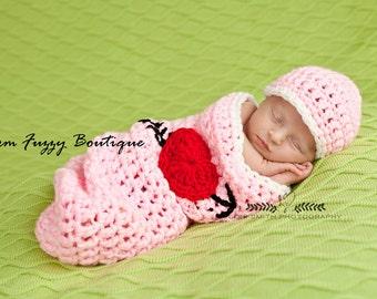 Instant Download PDF Crochet Pattern - No. 60 Valentine's Day Heart Hat & Cocoon - Newborn Baby