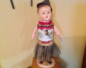 Vintage assemblage antique art doll sculpture