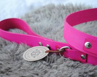 "SALE Pink Wide Leather Dog Leash - 49"""