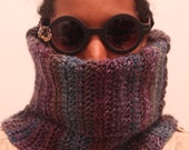 The Curved Snood Cowl in Purple Grey Charcoal Spectrum