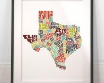 Texas typography map, texas map art, texas art print, texas poster print, texas gift idea, hand drawn state typography series