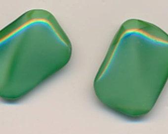 Six gorgeous vintage West German darker green moonstone glass stones - 18 x 13 mm