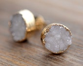 Cream Round Druzy Crystal Earring Posts with 24K Gold Dipped 10mm Circle Earring Studs