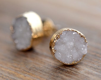 Neutral Round Druzy Crystal Earring Posts with 24K Gold Dipped 10mm Circle Earring Studs