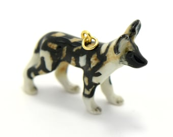 1 - Porcelain African Wild Dog Hand Painted Glaze Ceramic Animal Small Dog Bead Vintage Jewelry Supplies Little Critterz (CA247)