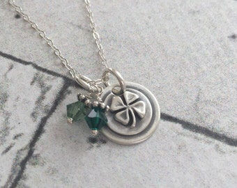 Solid Sterling Silver Good Luck Or St Patricks Day Four Leaf Clover Artisan Necklace
