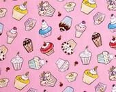 Dena Designs - Free Spirit Fabric - Tiddlywinks - Cupcakes - Pink - Choose Your Cut-1/2 or Full Yard