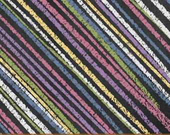Windham Fabrics - Born To Quilt - Diagonal Stripe - Multi -Novelty Fabric - Choose Your Cut 1/2 or Full Yard