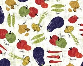 Windham Fabrics - Cooking Italiano - Tossed Veggies - White - Novelty Fabric - Choose Your Cut 1/2 or Full Yard