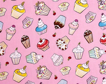 Dena Designs - Free Spirit Fabric - Tiddlywinks - Cupcakes - Pink - Choose Your Cut-1/2 or Full Yard