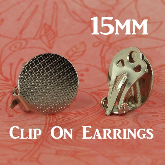 24 15mm clip on clip on earring posts backs with glue pad