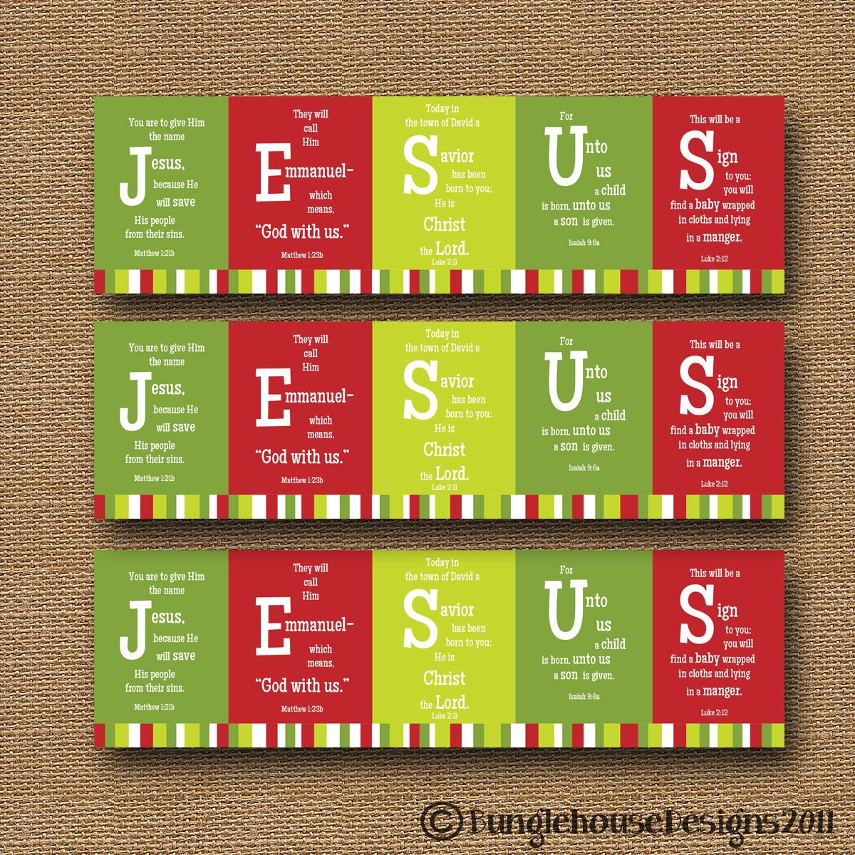 Printable Christmas Bookmark JESUS Scripture Bible Verse