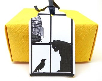 Cat Gift Tags, Custom Hang Tags, Black and White, Funny Cat Gifts, Punched, Ribbon Gift Tags, Set of 10, Party Favor Tags