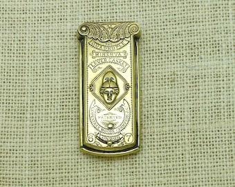 Antique Brass Minerva Quadruple Golden Lever Casket Needlecase, Copestake, Moore, Crampton & Co., London, Circa 1868