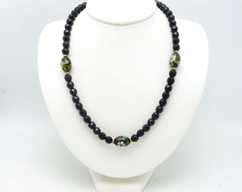 Vintage 1970's Black Glass Bead Bead Necklace with Cloisonne Beads
