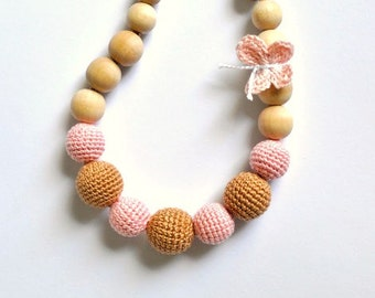 Nursing Necklace/Teething Necklace-Breastfeeding Necklace-Eco-Friendly-Beige Pink-Mother's day