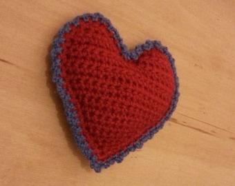 Sales - Crochet Red Heart - Crochet Puffed Heart - Crochet Heart - Cushion Crochet Heart - FREE UK DELIVERY