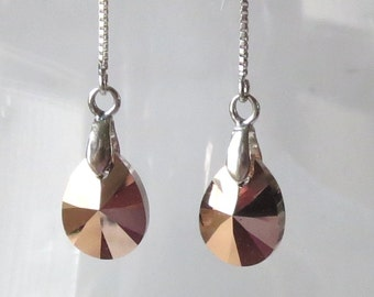 Sterling Silver and Rose Gold Crystal Threaders