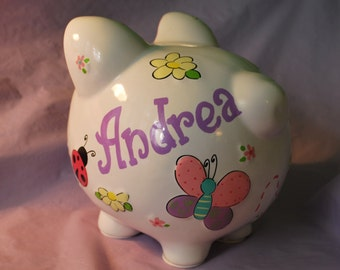 Piggy Bank LARGE Ceramic- Butterflies and Ladybugs