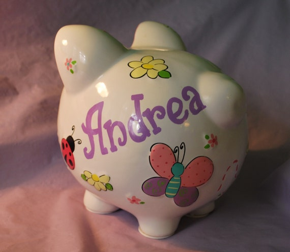 Items Similar To Piggy Bank Large Ceramic Butterflies And