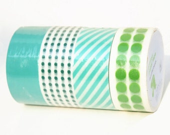 Green Mixed Washi Tapes,Polka Dots,Striped and Turquoise Set of 4 Rolls