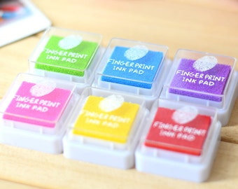 6 Pcs Fingerprint Wedding Tree Ink Pad - Craft Colorful Ink Pad - Fingerprint Inks